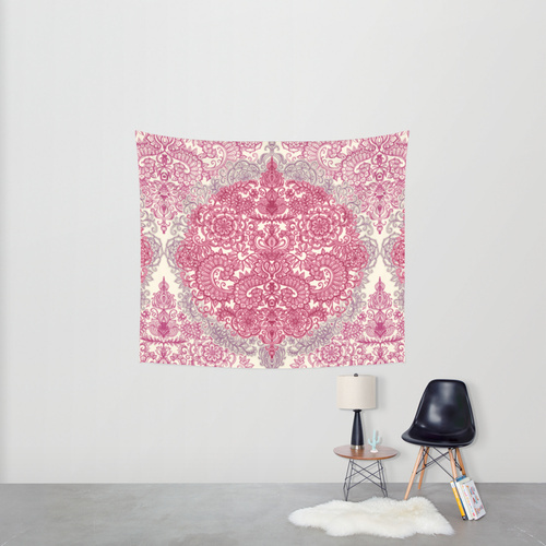Society6◆タペストリー◆Happy Place Doodle in Berry Pink, C