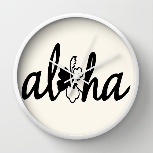 Society6★置き時計・掛け時計★Aloha flower by Grey And Aqua