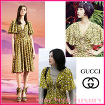 GUCCI★グッチ★素敵!CARDAMOM SAILBOAT PRINT FLUTTER SLEEVES
