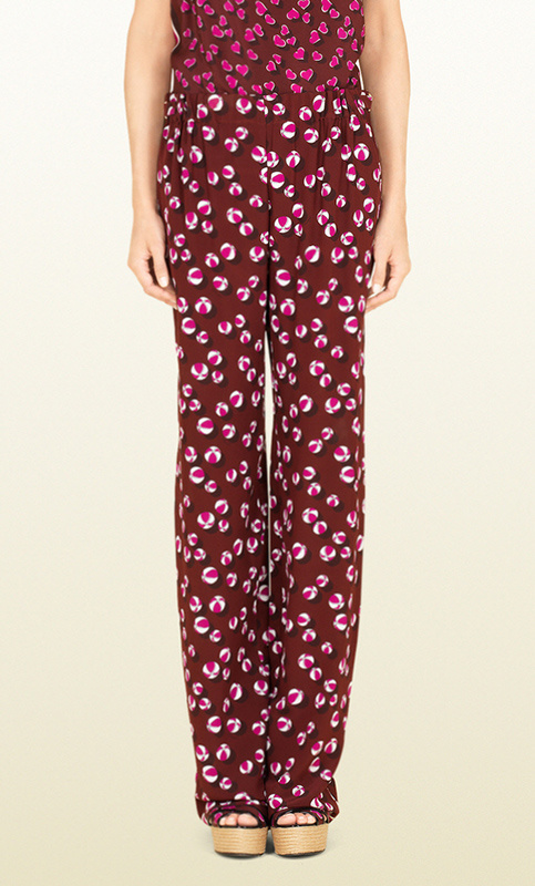 GUCCI★グッチ★素敵!BORDEAUX BEACH BALL PRINTED SILK PANTS