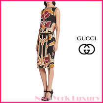 GUCCI★グッチ★素敵!ART NOUVEAU PRINT SILK DRESS WITH BELT