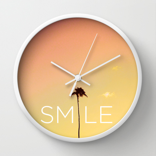 Society6★置き時計・掛け時計★Palm Tree Smile new Hue by Go