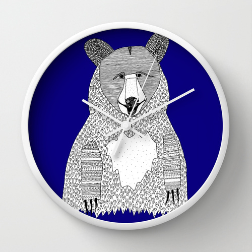 Society6★置き時計・掛け時計★Blue Bear by Lush Tart
