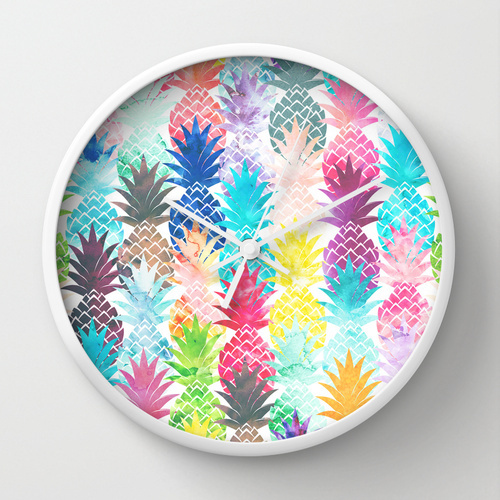 Society6★置き時計・掛け時計★Hawaiian Pineapple Pattern Tr
