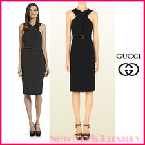 GUCCI★グッチ★素敵!BLACK CROSS TOP WITH BAMBOO BELT DRESS