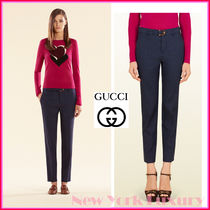 GUCCI★グッチ★素敵!Navy Linen Cotton Pant W/ BAMBOO BELT