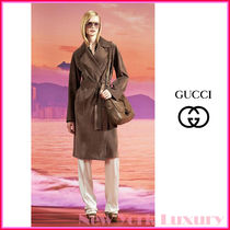 GUCCI★グッチ★素敵!Ash Brown Suede Belted Trench Coat