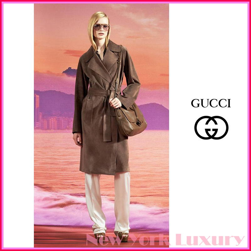 GUCCI★グッチ★素敵!Ash Brown Suede Belted Trench Coat (GUCCI/コート) 340439