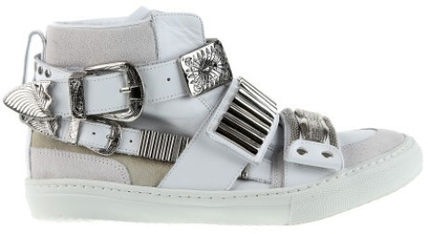 Toga pulla silver metal leather sneakers sale