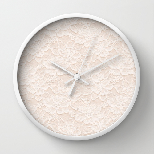 Society6★置き時計・掛け時計★Lace Love by Pink Berry Patte