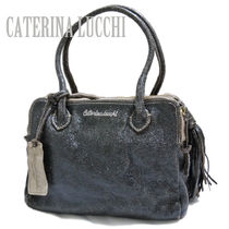 CATERINA LUCCHI (カテリーナ ルッキ) ショルダーバッグ・ポシェット CATERINA LUCCHI伊製メタリックヴィンテージ調革バッグ黒