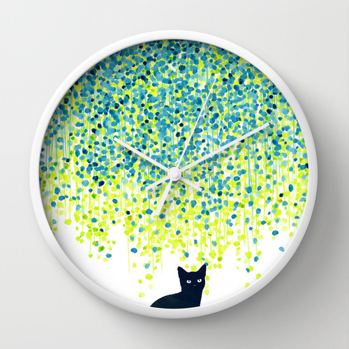 Society6★置き時計・掛け時計★Cat in the garden under willo