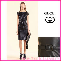 GUCCI★グッチ★素敵!BLACK LEATHER DRESS W BAMBOO BUCKLE