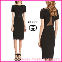 GUCCI★グッチ★素敵!BLACK VISCOSE MESH BACK BELTED DRESS