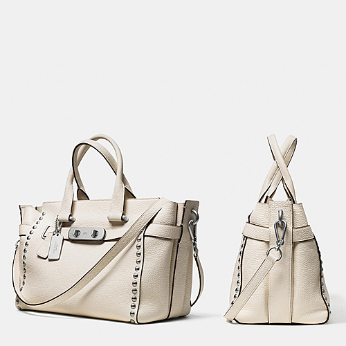 ★Coach★SWAGGER LACQUER RIVET CARRYALL IN PEBBLE LEATHER♪