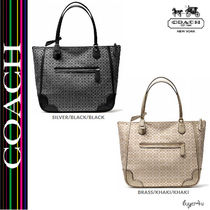 ★Coach★POPPY TOTE IN SIGNATURE C METALLIC OUTLINE FABRIC