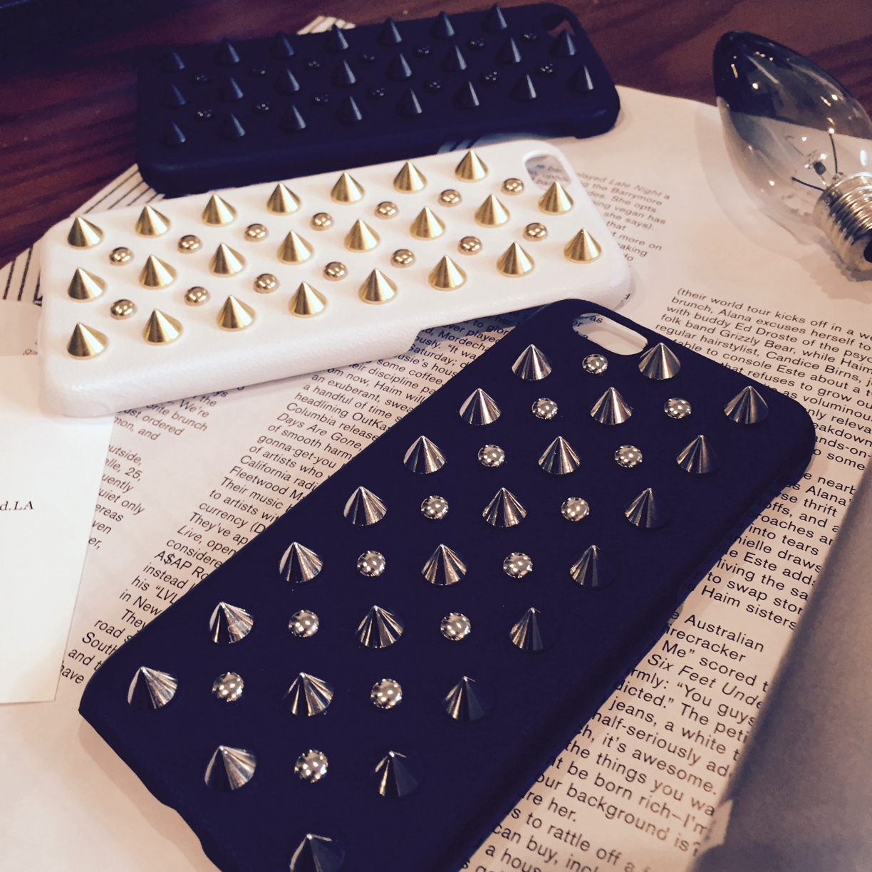 ☆希少☆【enchanted.LA】 SPIKE STUDDED LEATHER COVER iPhone