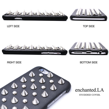 enchanted LA スマホケース・テックアクセサリー 高品質★【enchanted.LA】 SPIKE STUDDED LEATHER COVER iPhone6(5)