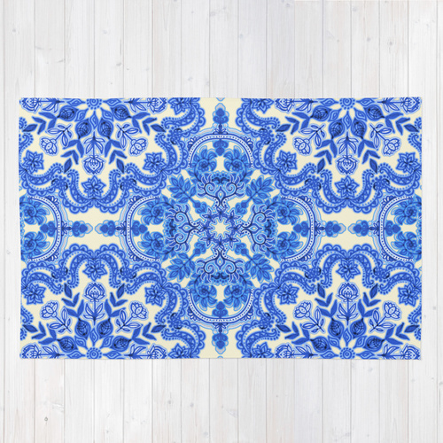 Society6◆洗えるラグマット◆Cobalt Blue & China White Folk