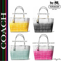 ★Coach★MADISON EAST/WEST TOTE IN GINGHAM SAFFIANO LEATHER