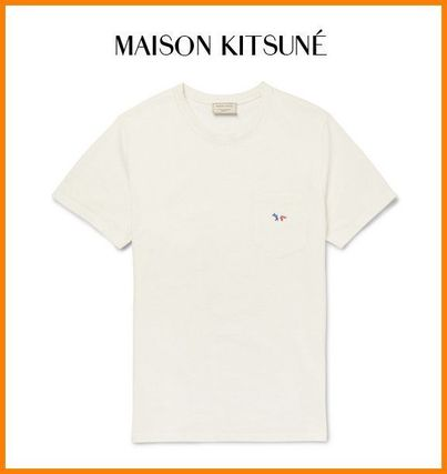 MAISON KITSUNE logo embroidered T shirts