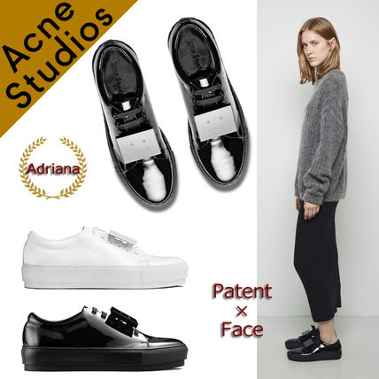 Acne * Adriana face plates patent lace-up shoes and