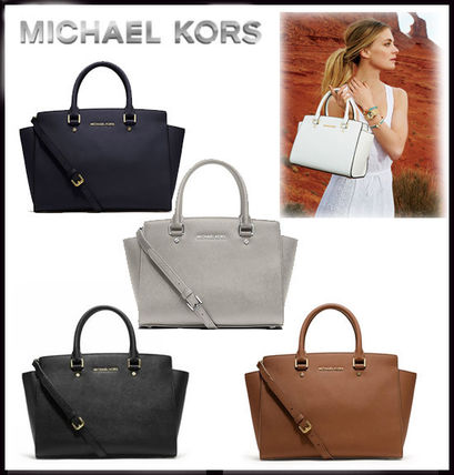 MICHAEL KORS SELMA MEDIUM SAFFIANO LEATHER SATCHEL