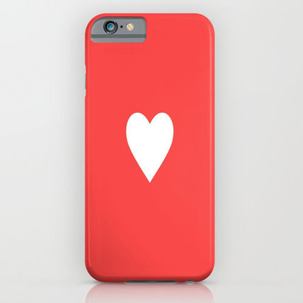 Society6 iPhone・スマホケース Society6 ケース Cute Red based White Heart Love