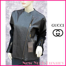 GUCCI★グッチ★素敵!Black Distressed Leather Wool Jacket
