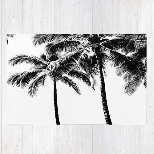Society6◆洗えるラグマット◆Black and White Palm Tree with