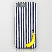 Society6 ケース Fabric stripe navy and Real banana