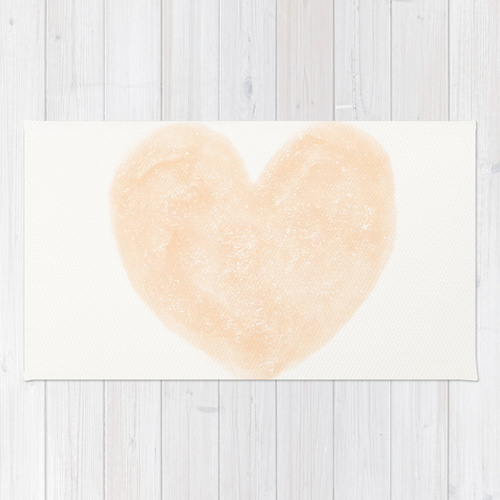 Society6◆洗えるラグマット◆Friendly Peach Pink Heart