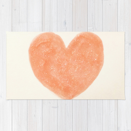 Society6◆洗えるラグマット◆Cute Peach Pink Heart