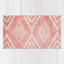 Society6◆洗えるラグマット◆mint & coral tribal pattern by