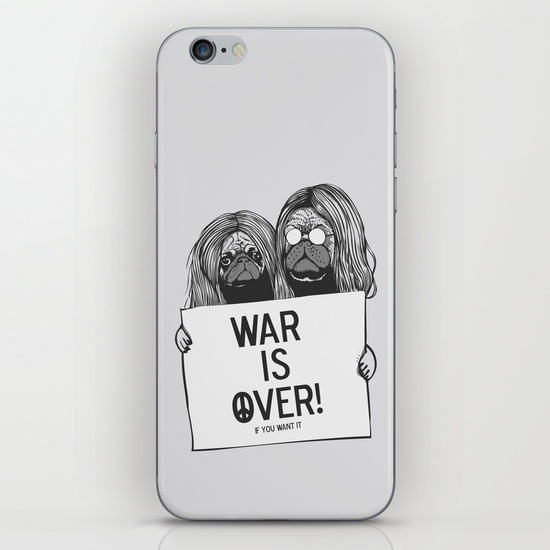 【海外限定】society6★War is over Pugs iPhoneシール