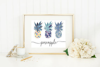 Pineapple fruit design posters A4 size