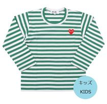 COMME des GARCONS(コムデギャルソン) キッズ用トップス PLAY COMME des GARCONS キッズ ボーダー長袖カットソー 緑