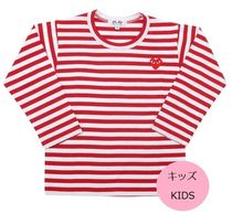 COMME des GARCONS(コムデギャルソン) キッズ用トップス PLAY COMME des GARCONS キッズ ボーダー長袖カットソー 赤