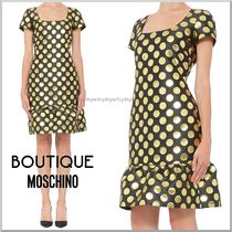 2015-16AW★BOUTIQUE MOSCHINO ドット柄 裾フリル ワンピース