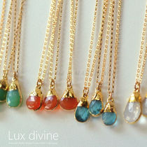 ★Dainty Gemstone Necklace GOLD 天然石 ネックレス★Luxdivine