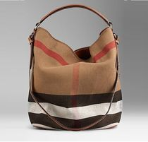 【 Burberry 】 MEDIM CANVAS CHECK HOBO 2 WAY ブラウン
