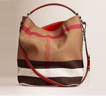 【 Burberry 】 MEDIM CANVAS CHECK HOBO 2 WAY レッド