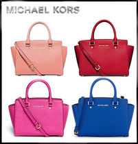 MICHAEL KORS★SELMA MEDIUM SAFFIANO LEATHER SATCHEL 国内発送