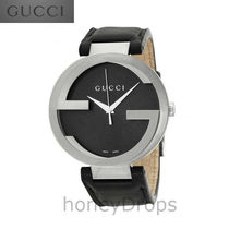 NEW★SALE★GUCCI★Interlocking G Black Dial Black★YA133205