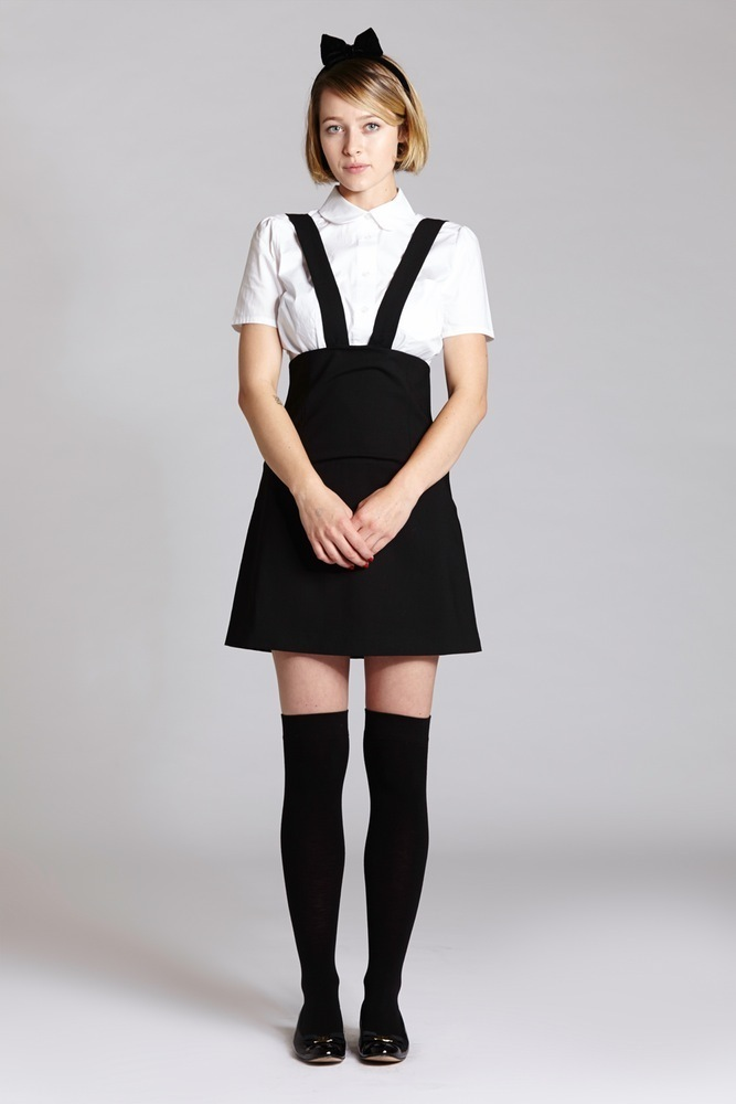 L'ecole Des FemmesルコルドファムMINI PENCIL SUSPENDER SKIRT