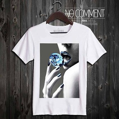 NO COMMENT PARIS blue diamond Tシャツ