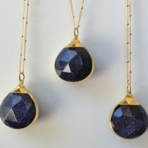 ★LUX DIVINE★Dark Galaxy Drops /// Blue Goldstone Necklace