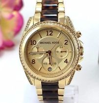セール☆MICHAEL KORS Blair Chrono Gold-tone Tortoise Watch
