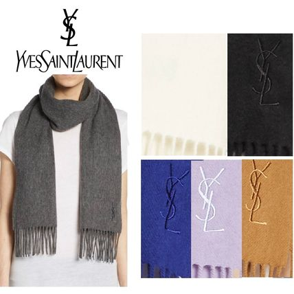 Yves Saint Laurent logo with cashmere blend scarf