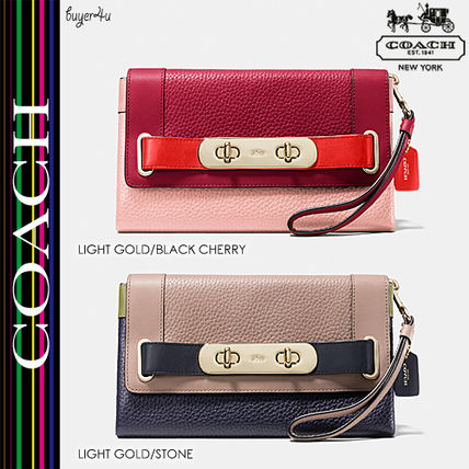COACH★セール価格 SWAGGER CLUTCH COLORBLOCK PEBBLE LEATHER♪